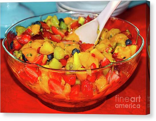 Passionfruit Canvas Print - Tropical Fruit Salad By Kaye Menner by Kaye Menner