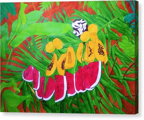 Tropical Fruits Canvas Print by Michaela Bautz