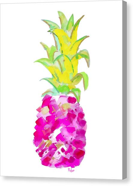 Pineapples Canvas Print - Tropical Fuchsia And Gold by Roleen Senic