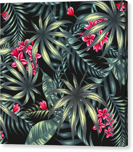 Tropical Plant Canvas Print - Tropical Leaf Pattern  by Stanley Wong