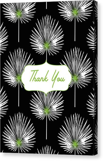 Graduation Canvas Print - Tropical Leaf Thank You Black- Art By Linda Woods by Linda Woods