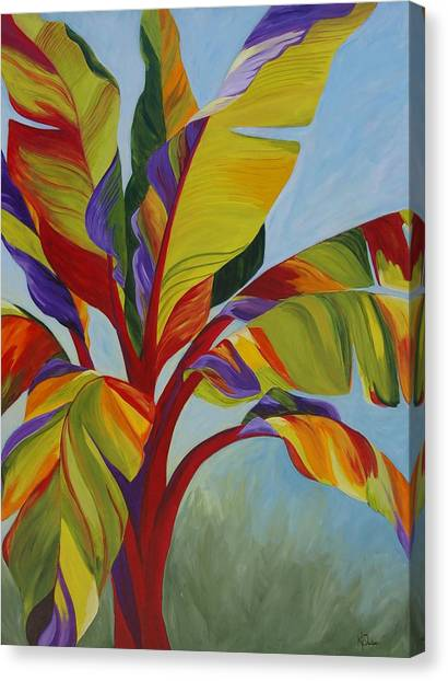 Banana Tree Canvas Print - Tropical Mist by Karen Dukes