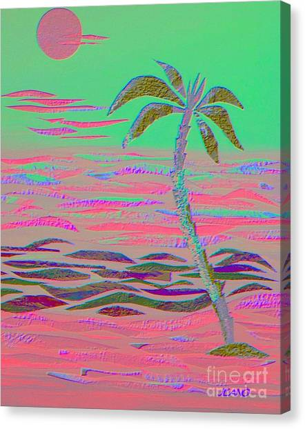 Hot Pink Coconut Palm Canvas Print
