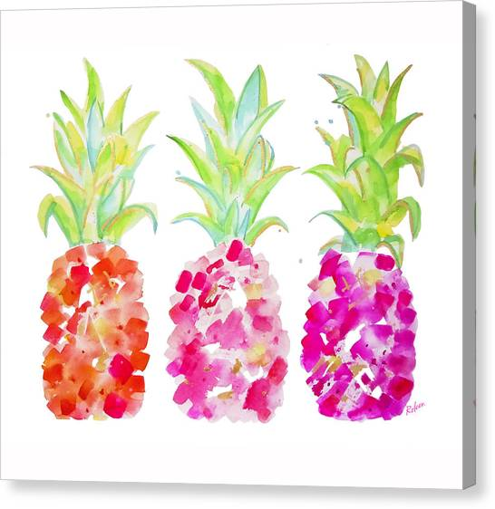 Pineapples Canvas Print - Tropical Pink And Gold by Roleen Senic