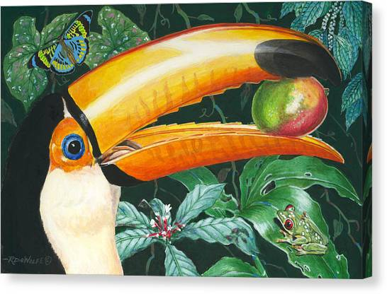 Toucans Canvas Print - Tropical Rain Forest Toucan by Richard De Wolfe