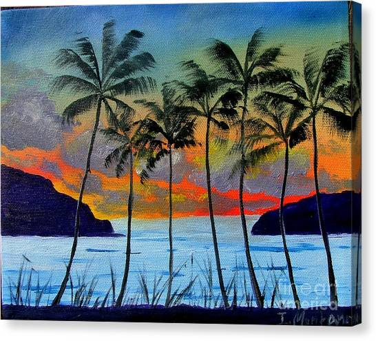 Tropical Sunset Canvas Print by Inna Montano