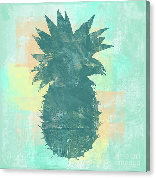 Pineapples Canvas Print - Tropicalifornia, Sponge Painted Abstract Tropical Pineapple by Tina Lavoie