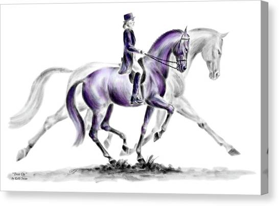Trot On - Dressage Horse Print Color Tinted Canvas Print