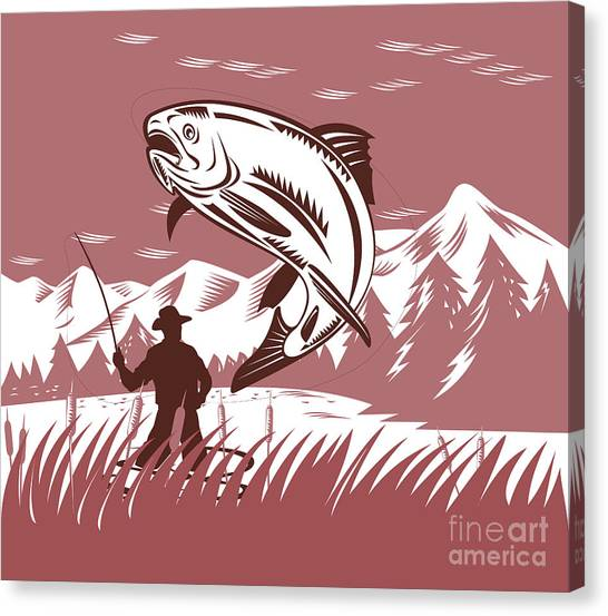 Fish Canvas Print - Trout Jumping Fisherman by Aloysius Patrimonio