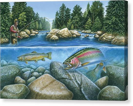 Fly Fishing Canvas Print - Trout View by JQ Licensing