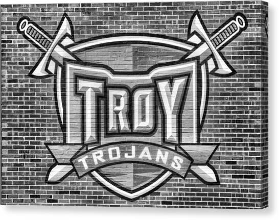 Troy University Troy Canvas Print - Troy Trojans Black And White by JC Findley