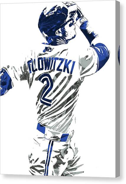 Toronto Blue Jays Canvas Print - Troy Tulowitzki Toronto Blue Jays Pixel Art 2 by Joe Hamilton
