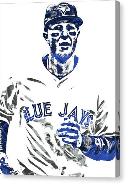 Toronto Blue Jays Canvas Print - Troy Tulowitzki Toronto Blue Jays Pixel Art by Joe Hamilton