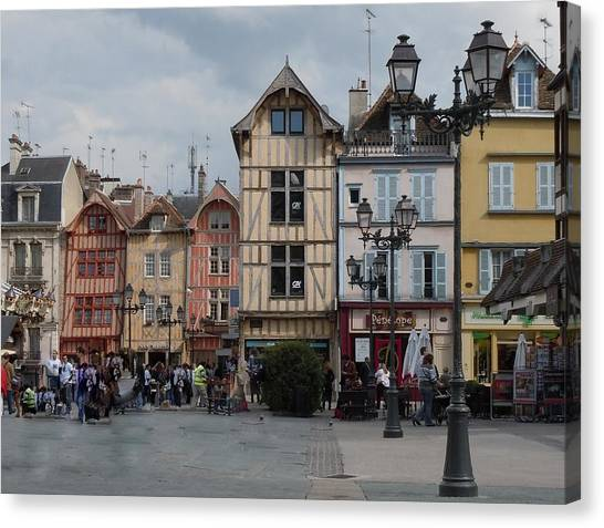 Old Houses Canvas Print - Troyes France by Marilyn Dunlap
