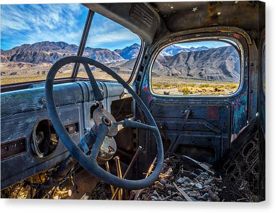Rusty Truck Canvas Print - Truck Desert View by Peter Tellone