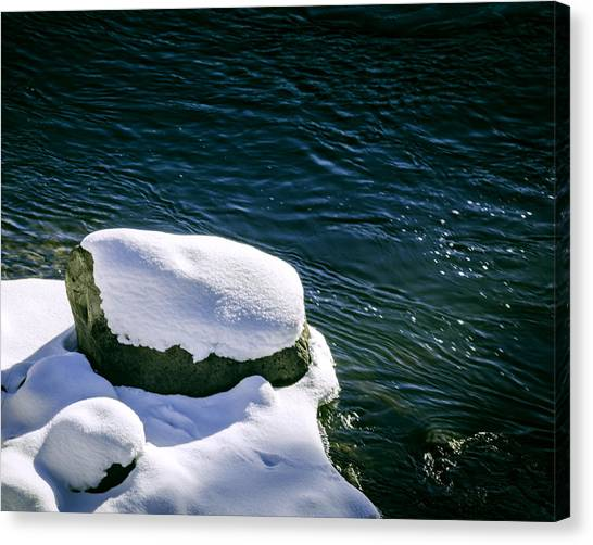 Canvas Print featuring the photograph Truckee River Snow by William Havle