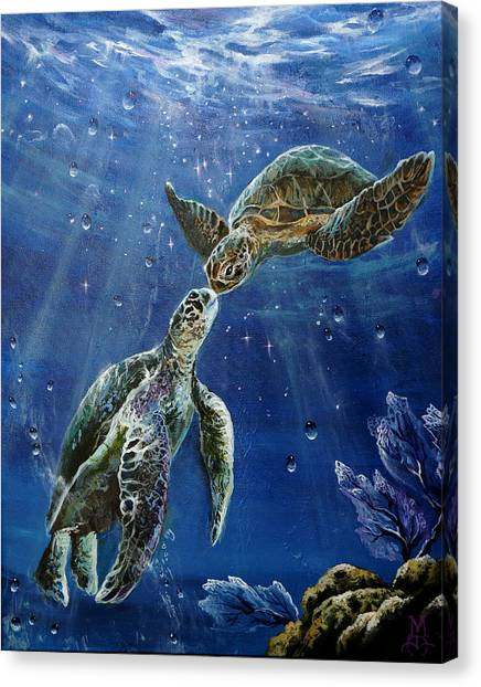 Marine Life Canvas Print - True Love's Kiss by Marco Antonio Aguilar
