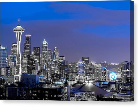 True To The Blue In Seattle Canvas Print
