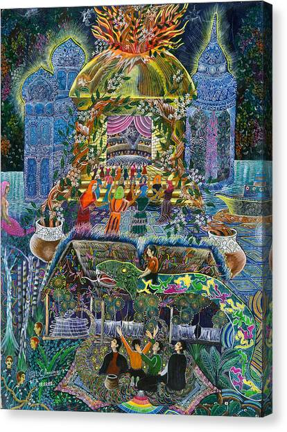 Canvas Print featuring the painting Trueno Ayahuasca  by Pablo Amaringo