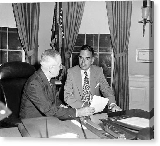 Harry Truman Canvas Print - Truman And Governor Thomas Dewey - Oval Office - 1951 by War Is Hell Store