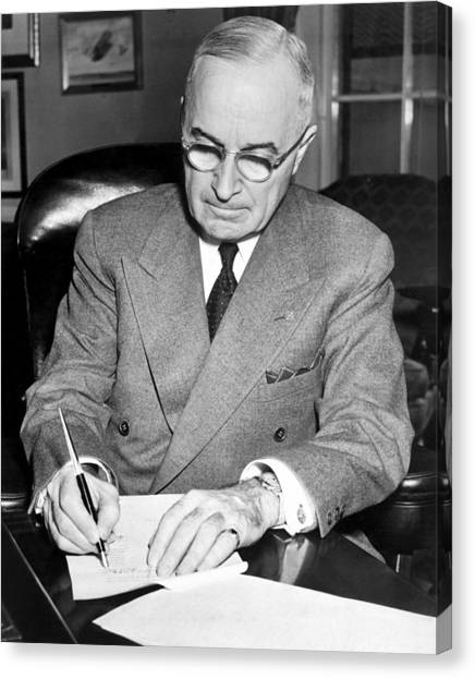 Harry Truman Canvas Print - Truman Signing Documents - Korean War - 1950 by War Is Hell Store