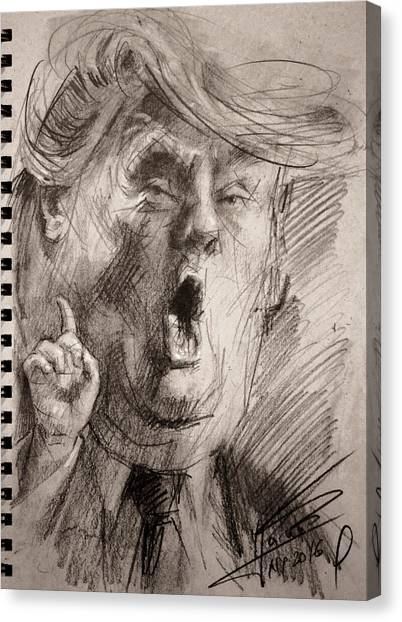 Donald Trump Canvas Print - Trump A Dengerous A-hole by Ylli Haruni