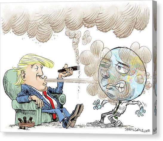 Canvas Print featuring the drawing Trump And The World On Climate by Daryl Cagle