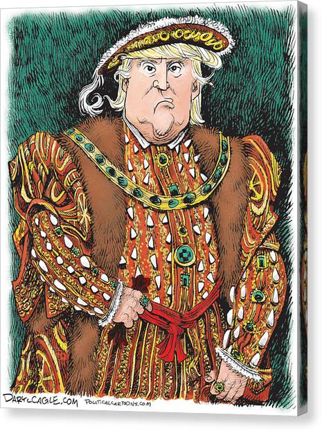 Canvas Print featuring the drawing Trump As King Henry Viii by Daryl Cagle