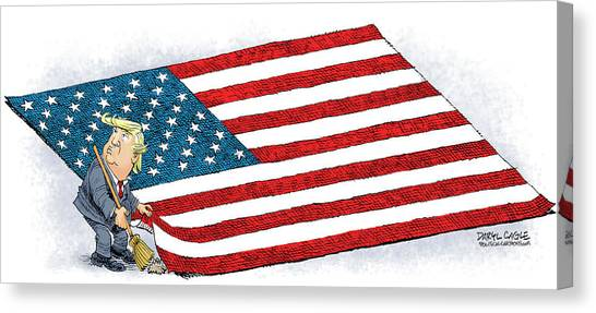 Canvas Print featuring the drawing Trump Sweeps Under The Flag Rug by Daryl Cagle