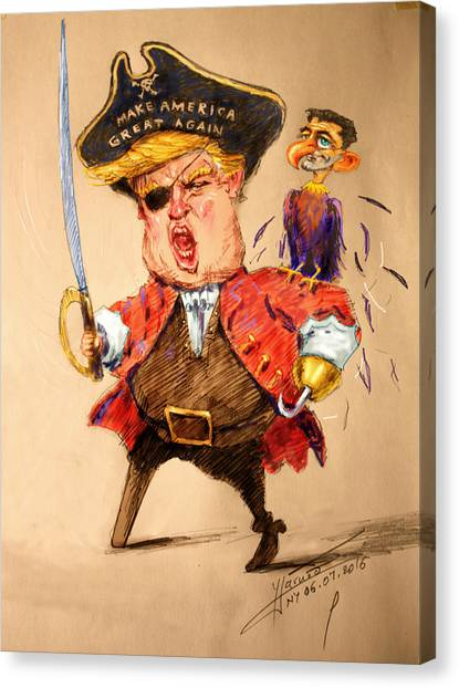Republican Politicians Canvas Print - Trump, The Short Fingers Pirate With Ryan, The Bird by Ylli Haruni