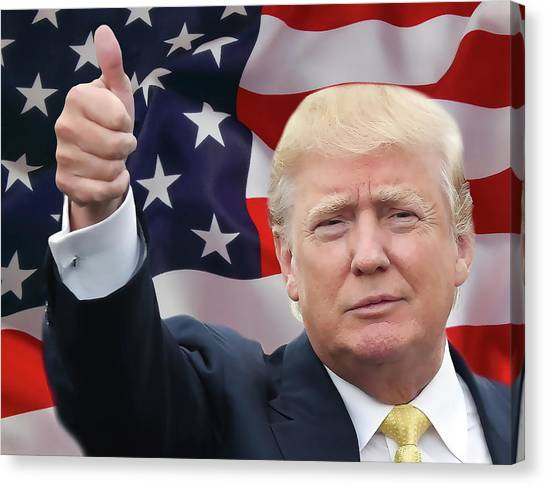 Donald Trump Canvas Print - Trump Thumbs Up 2016 by Daniel Hagerman