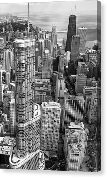 Chicago Skyline Art Canvas Print - Trump Tower And John Hancock Aerial Black And White by Adam Romanowicz