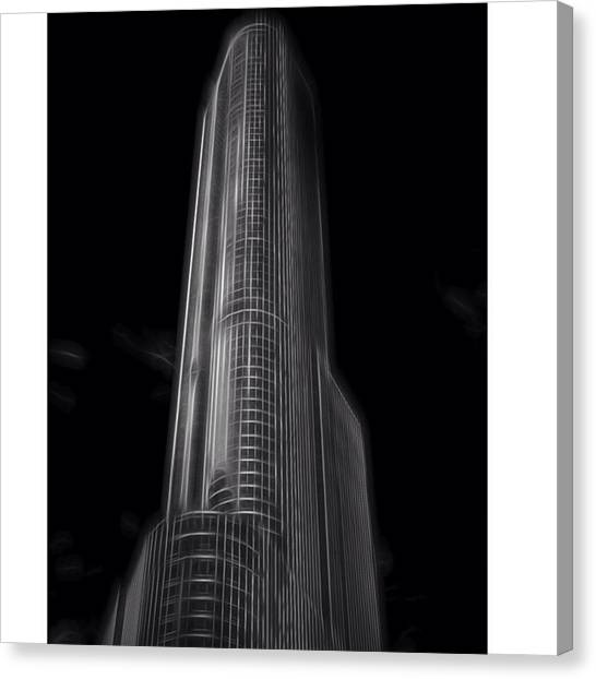 University Of Illinois Canvas Print - #trump #trumptower #trumpchicago by David Haskett II