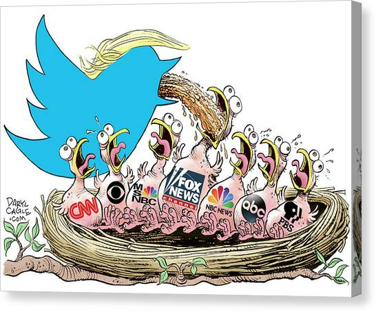 Canvas Print featuring the drawing Trump Twitter And Tv News by Daryl Cagle