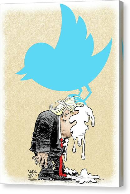 Canvas Print featuring the drawing Trump Twitter Poop by Daryl Cagle
