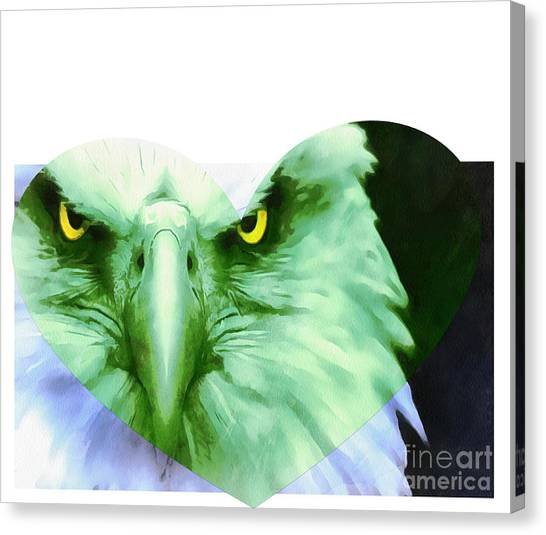 Impartial Canvas Print - Trumped Green On Blue by Catherine Lott