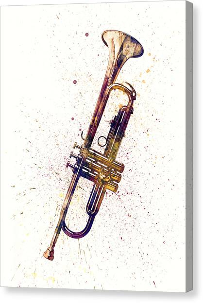 Trumpets Canvas Print - Trumpet Abstract Watercolor by Michael Tompsett