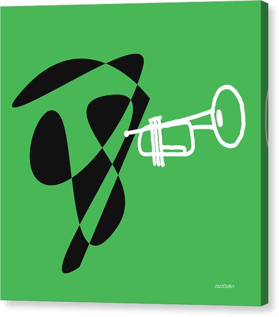 Trumpet In Green Canvas Print