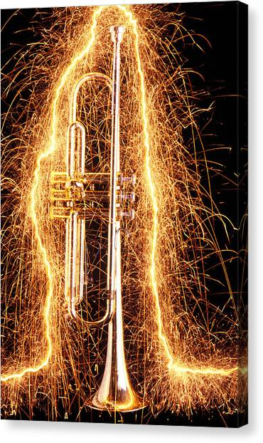 Brass Instruments Canvas Print - Trumpet Outlined With Sparks by Garry Gay