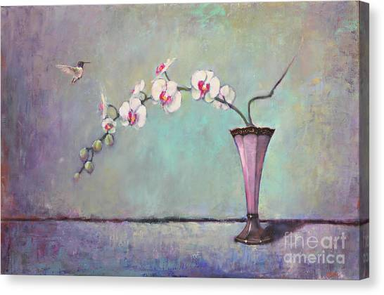 Chin Canvas Print - Trumpet Vase And Orchid  by Lori  McNee