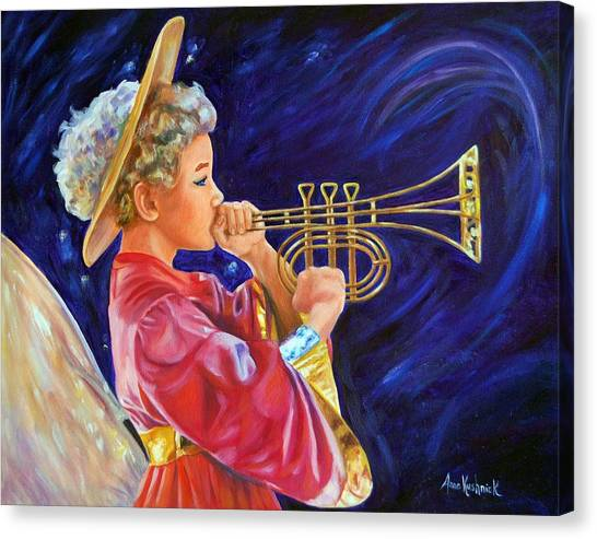 Canvas Print - Trumpeting Angel by Anne Kushnick