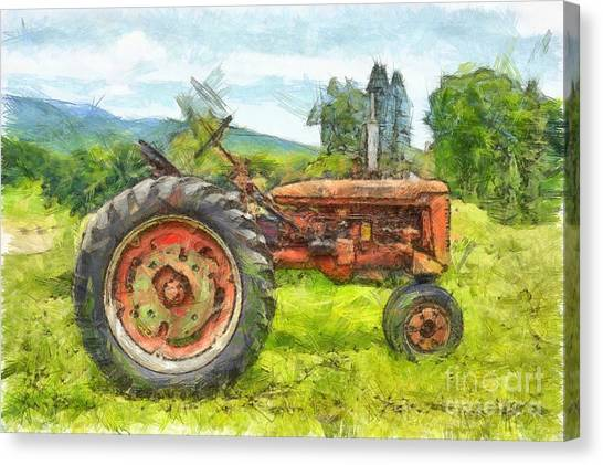 Big Red Canvas Print - Trusty Old Red Tractor Pencil by Edward Fielding