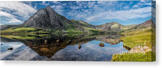 Ogwen Valley Canvas Print - Tryfan And Lake Ogwen by Adrian Evans