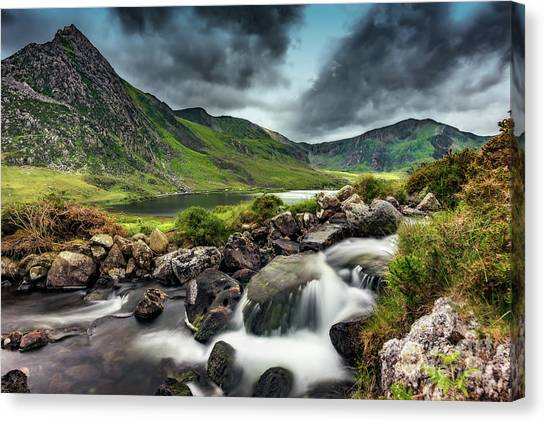 Tryfan Mountain Canvas Print - Tryfan And Ogwen Lake by Adrian Evans