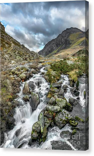 Tryfan Mountain Canvas Print - Tryfan And Ogwen River by Adrian Evans