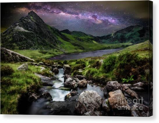 Tryfan Mountain Canvas Print - Tryfan By Starlight by Adrian Evans