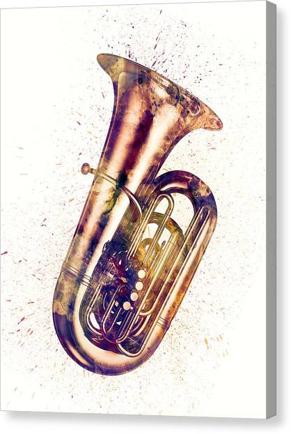 String Instruments Canvas Print - Tuba Abstract Watercolor by Michael Tompsett