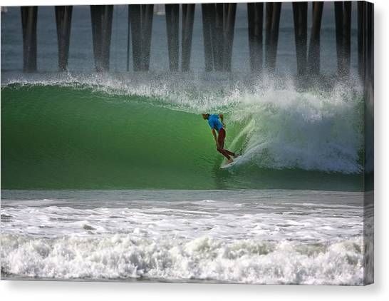 Surfboard Canvas Print - Tube Ride by Larry Marshall
