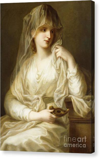 Neoclassical Art Canvas Print - Tuccia, The Vestial Virgin, Three Quarter Length, Holding A Lamp by Angelica Kauffmann