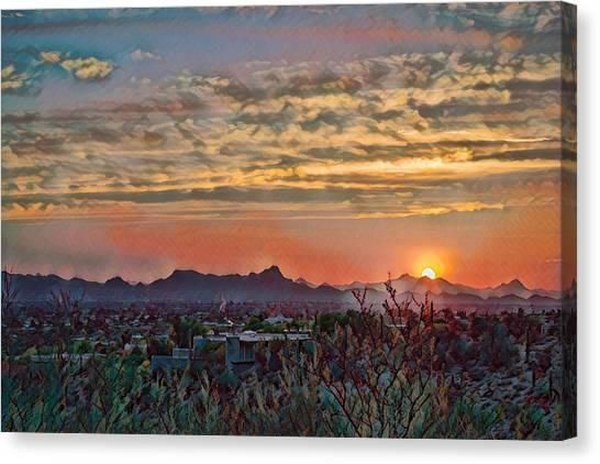 Canvas Print featuring the photograph Tucson Sunset Remix by Dan McManus